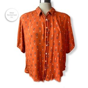 PATRONS OF PEACE Button Down Daisy Dots Print Top